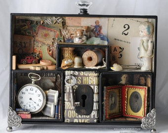 Once Upon A Family Assemblage Box, Found Object, Assemblage, Free Shipping