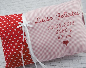 Personalized pillow for birth or baptism, dates of birth, in red, made of cotton fabric, cuddly pillow, children's pillow, name pillow, baby,