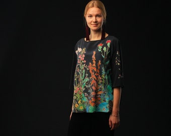 Hand painted silk blouse. Black silk blouse with field flowers. Made to order.