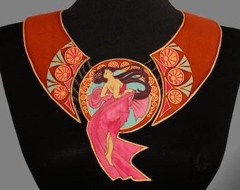 Designer collar necklace. Alphonse Mucha inspired necklace. Hand painted silk collar. Unusual necklace. Made to order.
