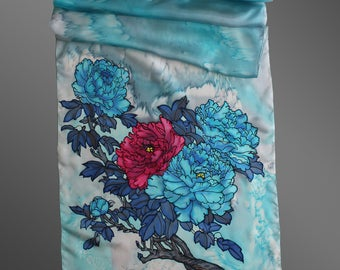 Hand painted silk scarf. Floral silk scarf. Blue peonies silk scarf. Blue peony art. Turquoise silk scarf. Ready to ship.