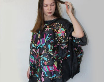 Hand painted silk poncho. Black silk poncho. Made to order.
