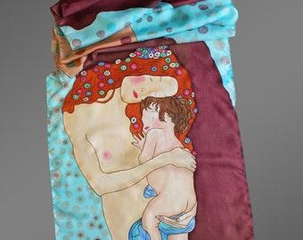 Klimt silk scarf. Hand painted silk scarf. Designer silk scarf. Pure silk scarf. Art to wear.  Made to order.