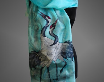 f39c32cfe74b2 Hand painted silk scarf with a pair of cranes. Turquoise silk scarf. Bird  silk scarf. Made to order.