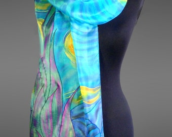 Hand painted silk scarf.  Pure silk scarf. Made to order.