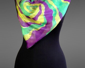 Hand painted silk scarf. Square silk scarf. Silk shawl scarf with abstract design. Bright silk scarf. 27x27 in (70x70 cm). Ready to ship