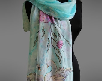 Hand painted scarf with swans . Silk scarf. Turquoise silk scarf. Aqua silk scarf. Made to order