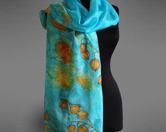 Turquoise silk scarf. Hand painted silk scarf with physalis flowers.  Bright colors scarf. Ready to ship.