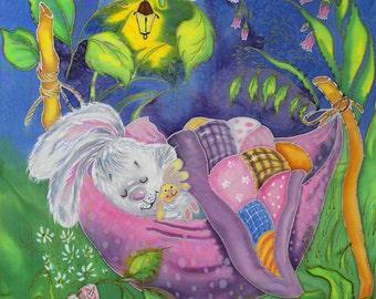 Silk painting for a nursery. Nursery decor. Original painting for a nursery. Nursery art.  Ready to ship.