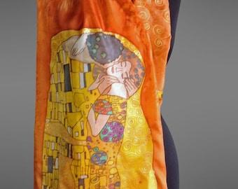 Klimt Kiss silk scarf. Hand painted silk scarf.  Designer silk scarf. Pure silk scarf. Art to wear. Made to order.