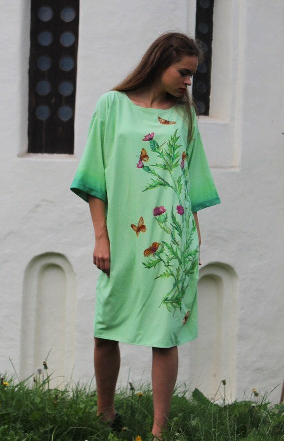 Hand painted silk dress. Wild silk dress. Light green dress. Thistle design dress. Designer dress. Ready to ship.
