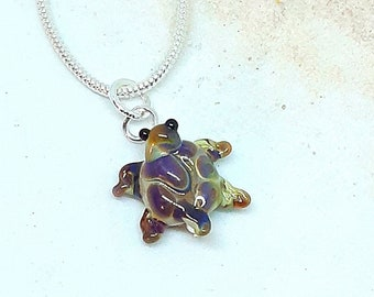 Tiny glass turtle necklace - patchwork bronze and purple