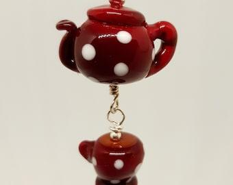 Tiny glass teapot and teacup decoration