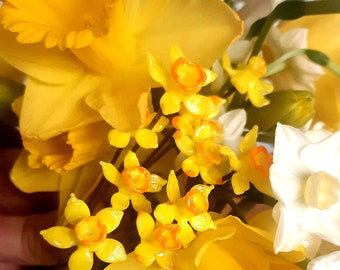 Tiny glass Daffodil pot plant decorations - set of three