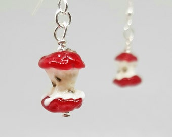 Tiny glass apple core earrings