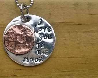 Hand Stamped / Sterling Silver and Copper, i love you to the moon pendant /