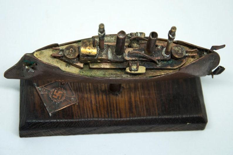 Antique World War I Trench Art German Destroyer
