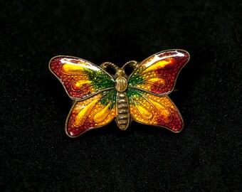 Vintage 1930's Enamelled Butterfly Brooch