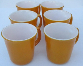 1960 Yellow Corning Coffee Cups or Mugs,Vintage CorningWare Mustard Yellow Coffee Cups,Set of 6 Dark Yellow Corning Ware Cups,Retro Kitchen