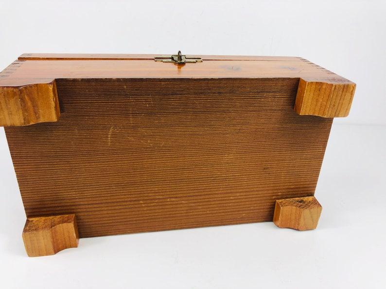 1950s Wood Cedar Jewelry Trinket Box w Mirror Inside ~Top Decoupage Cottage Pastoral Scene
