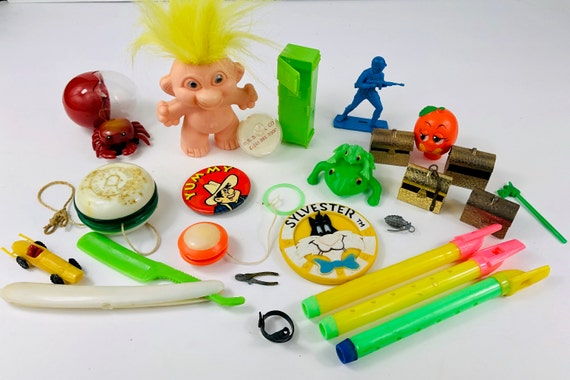 Vintage Plastic Lot of Cracker Box Gumball Toy Prizes