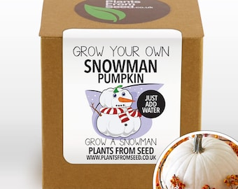 SALE!!! - Grow Your Own Snowman White Pumpkin Plant Kit
