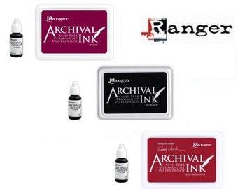 TIM HOLTZ Archival Dye INK Pads + Refill Re-Inker Ranger Purple Red Black Gray Fast Shipping
