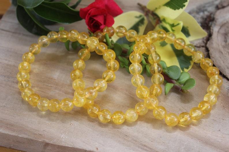 CITRINE Round  Beads Bracelet Stretchy String Citrine Elastic Bracelet