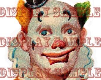 Large Victorian Scrap - Clown's Head - A4 Digital Download