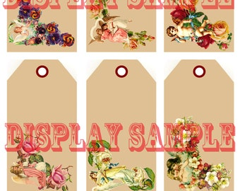 Six Victorian Gift Tags - Angels and Flowers - A4 Digital Download