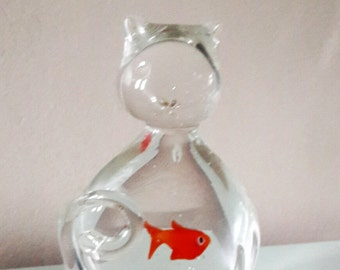 Clear Glass Cat with a Goldfish in its tummy