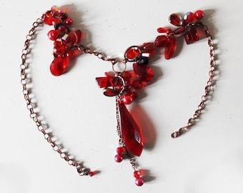 Lovely Festive Red Acrylic Adjustable Necklace