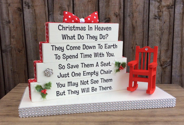 christmas in heaven poem memorial table top wood sign etsy