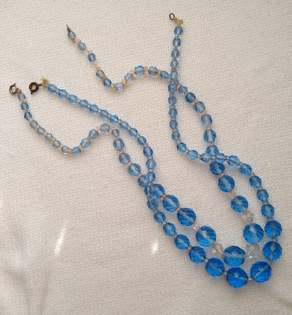2 Soft Blue Glass Beaded Necklaces, Faceted Glass