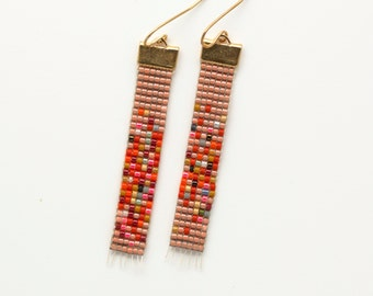 Sooky // Loom Beaded Earrings // Bubblegum Pink and Speckled // Colorful Ombre Jewelry