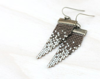 Ivory Field // Loom Beaded Earrings // Ivory and Copper // Ombre Jewelry