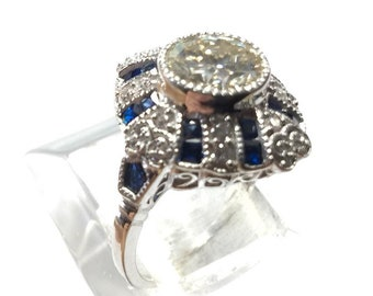 2.8 ct Moissanite Ring accented with blue and White Cubic Zirconia 925 Sterling Silver Ring