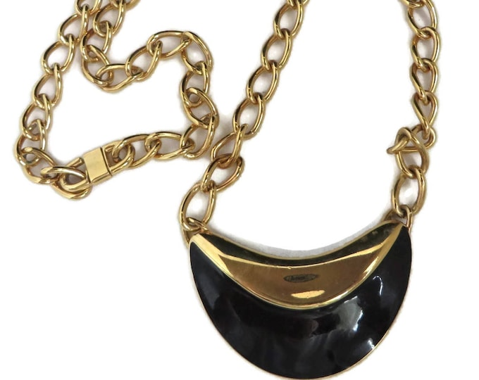 Monet Pendant Necklace,  Vintage Chain Link Black & Gold Necklace