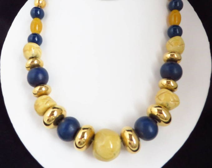 Multicolor Chunky Beaded Necklace, Vintage Blue, Cream, Gold Tone Necklace