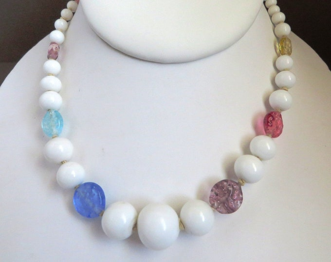 Milk Glass Necklace - Art Glass & White Glass Beaded Necklace, Vintage Japan Jewelry