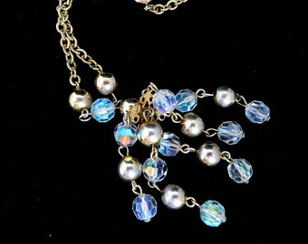 Vintage Chandelier Necklace, Crystal Necklace, Chain Link Necklace, Statement Necklace, Beaded Necklace, Gift Idea