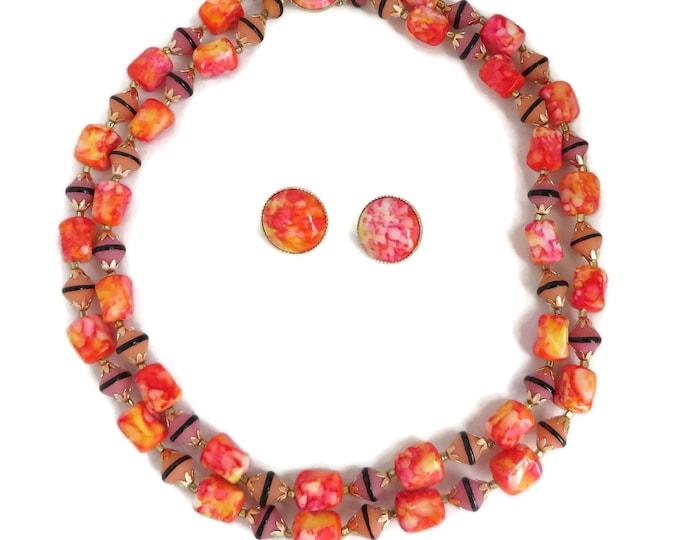 Marbled Orange Jewelry Set, Vintage Bead Necklace, Earrings, Statement Jewelry, Pink & Orange Necklace, Earrings, Chunky Jewelry Set
