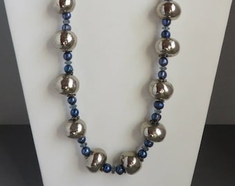 Silver Ball Necklace, Chunky Necklace, Vintage Blue & Silver Bead Long Necklace, Boho Jewelry, Statement Jewelry