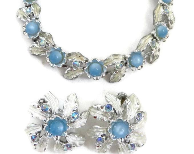 Blue Moonstone Bracelet Set, Vintage Jewelry Set, Blue Necklace, Flower Earrings, Cluster Earrings, Judy Lee Jewelry, Necklace Set, Gift
