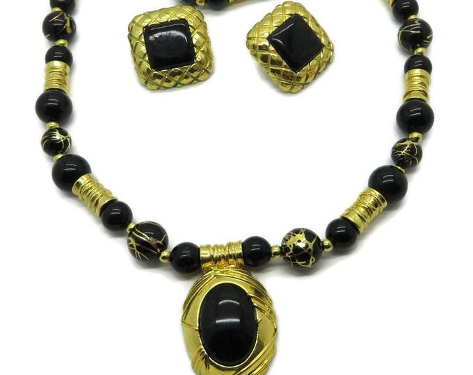 Black & Gold Necklace and Earrings, Liz Claiborne Jewelry, Vintage Boho Necklace, Chunky Pierced Earrings, Demi Parure