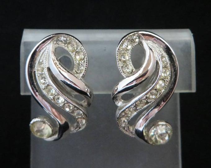 Signed ORA Earrings - Vintage Rhinestone Curved Clip on Earrings, Bridal Jewelry
