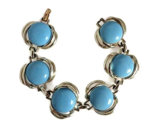 Blue Beaded Bracelet - Vintage Baby Blue and Silver Tone Linked Bracelet