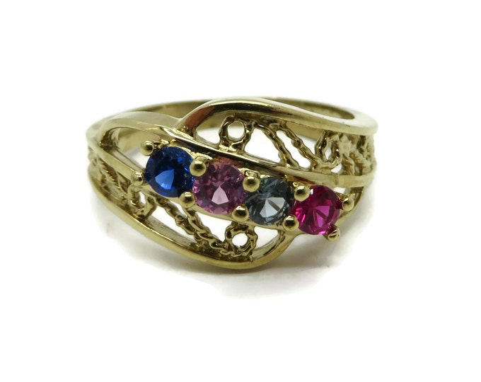 Vintage Faux Topaz Ring Brass Sample Ring, Multicolor Ring, Size 7