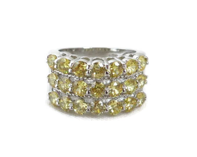 Wide Band Multi Stone Ring - Vintage Yellow CZ Sterling Silver Ring, Size 7