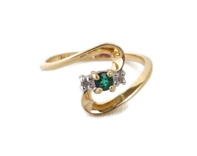 Emerald & Diamond Ring, 14K Gold Ring, Vintage Women's Ring, Size 6.5